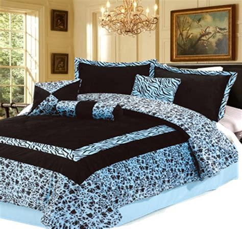 blue zebra print comforter set 7pc new blue faux fur zebra animal print comforter set