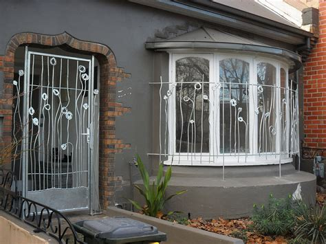 Abstract poppy security door and window grill   Decorative