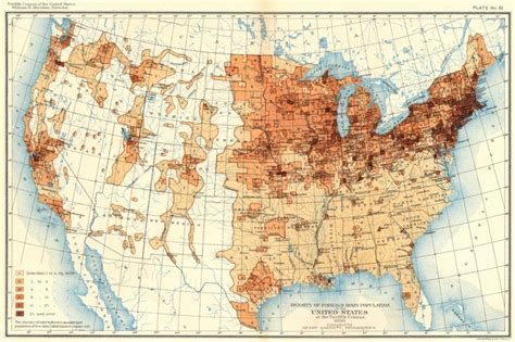 map of america population density usa density of foreign born population us at 12th census