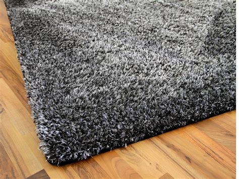 luxus teppich hochflor shaggy teppich luxus feeling mix anthrazit