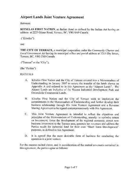 template of joint venture agreement joint venture agreement template