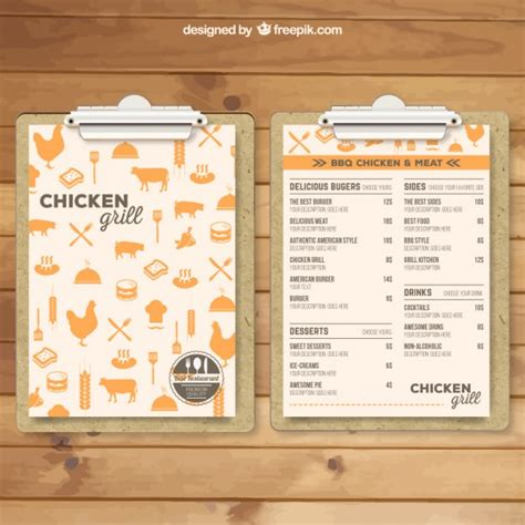 grill menu template vector free