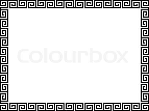 greek pattern frame greek style black ornamental decorative frame stock