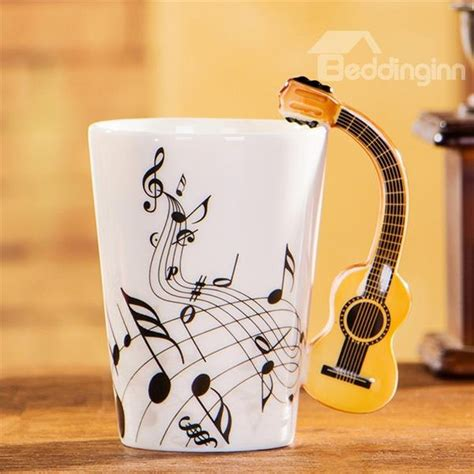 creative mug creative musical theme guitar design handle ceramic coffee