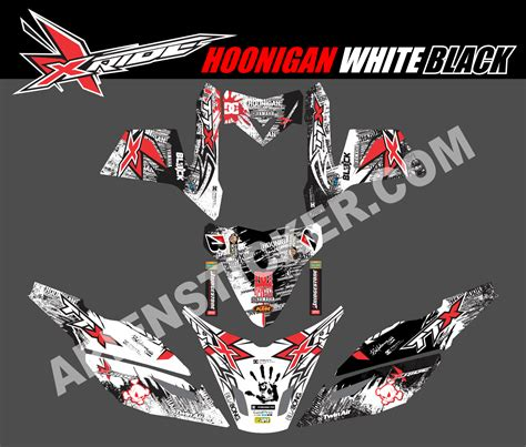 Sticker Decal Striping Dekal Stiker Klx 149 Glossy striping motor xride hoonigan bw apien sticker