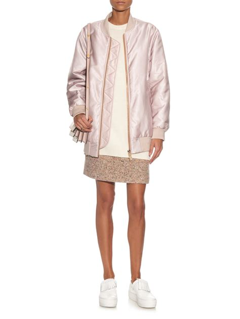3 Second Jacket Pink lyst acne studios selow satin bomber jacket in pink