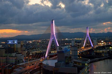 romantic night  aomori bay bridge illumination