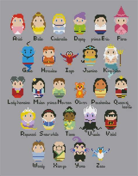 Disney Character Letter V princesses alphabet sler cross stitch pdf