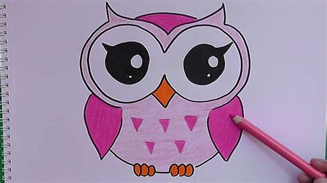 imagenes para dibujar y pintar dibujando y coloreando a buho drawing and coloring pink