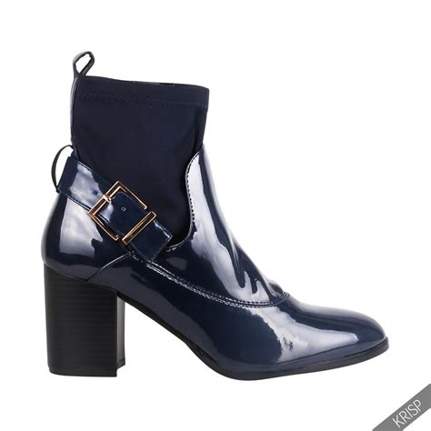 womens retro fashion patent elastic ankle boots low