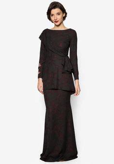 Zalora Baju Winter designer baju raya xema su raya 2016 collection black tiered kurung kedah baju raya 2016