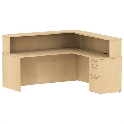 L Shaped Reception Desk Bush Business 300 Series 72 Quot L Shaped Reception Desk In Maple 300s076ac