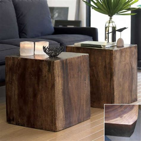 Cube Side Tables Living Room Convertible Wood Cube Contemporary Side Tables And End