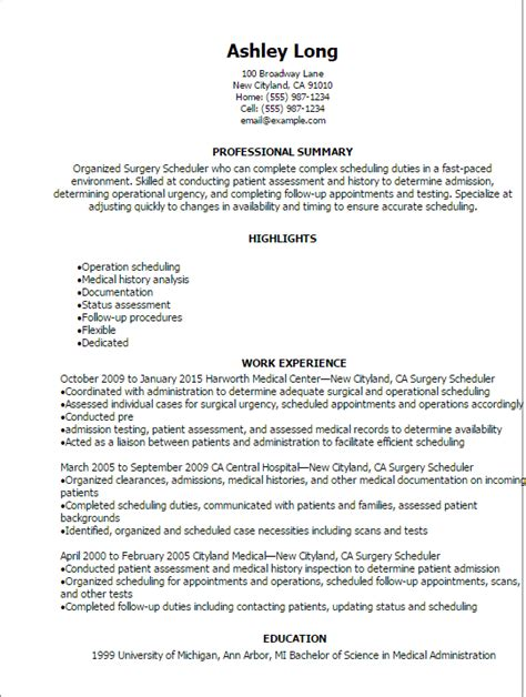 Surgery Resume Sle by Scheduler Cover Letter Thevillas Co