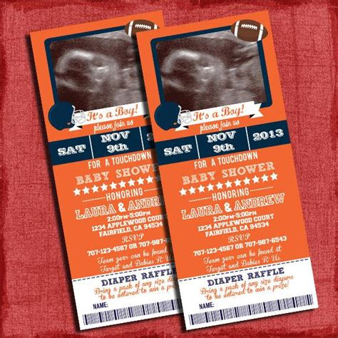 Ticket Baby Shower Invitations by Printable Football Baby Shower Ticket 4x9 Invitation With