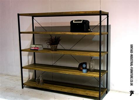large vintage industrial shelving unit