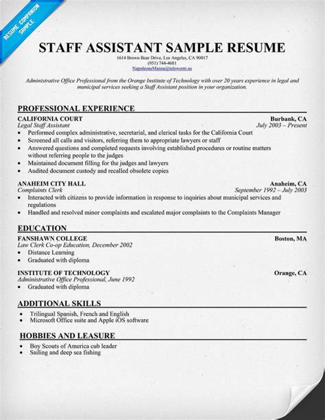 Staff Resume Doc Assisted Legislative Assistant