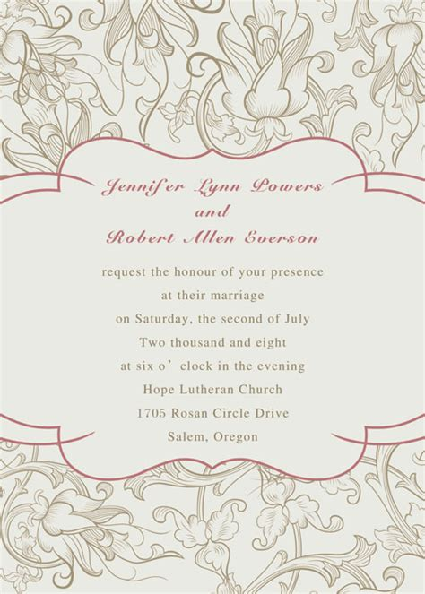 elegant wedding invitation printable elegant printable floral wedding invitations ewi203 as low