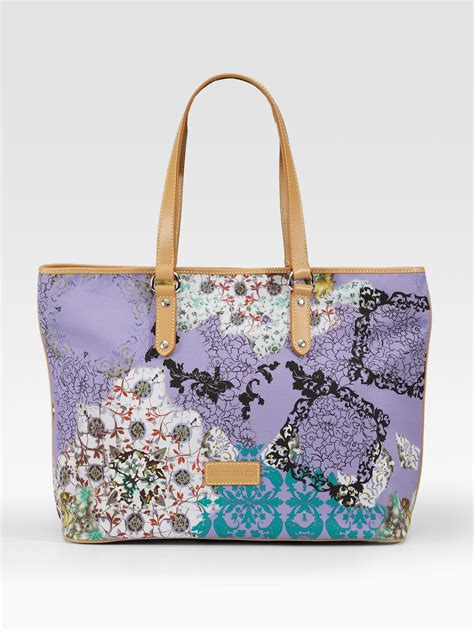 Burberry Canvas Floral Tote by Etro Floral Print Canvas Tote In Purple Lyst
