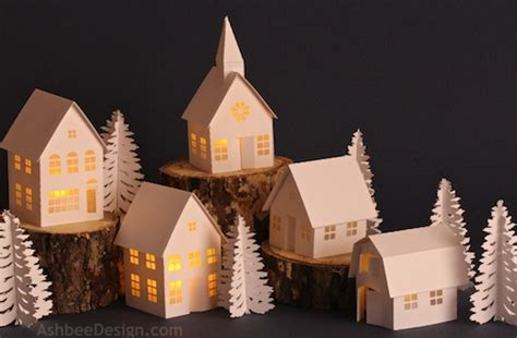 construction paper tree lit with tea light all things paper miniature paper houses up