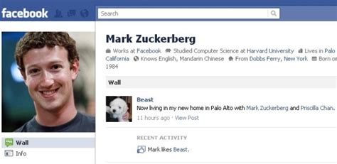 biography for facebook page mark zuckerberg beast dog gets facebook page