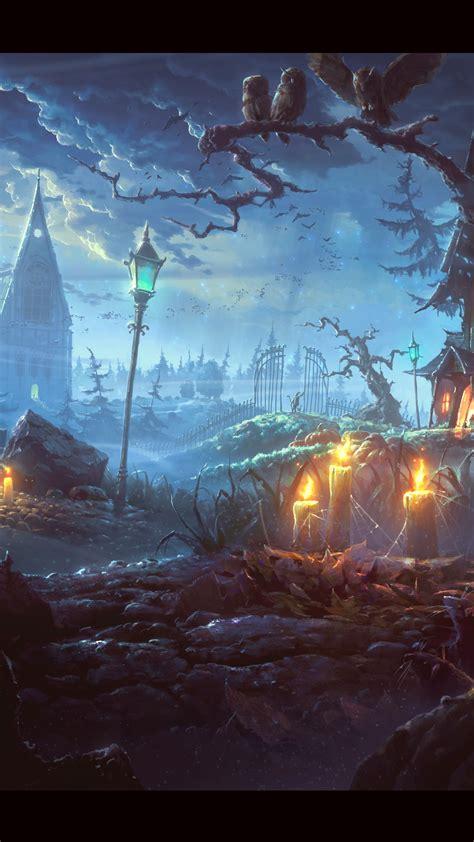 wallpaper tale town pumpkin night art