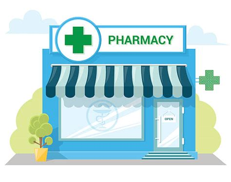Quality Awning Royalty Free Pharmacy Clip Art Vector Images