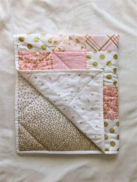 Baby Quilt Blankets by Baby Blanket Modern Baby Quilt Pink Gold White Bird Dot Chevron Crib Bedding