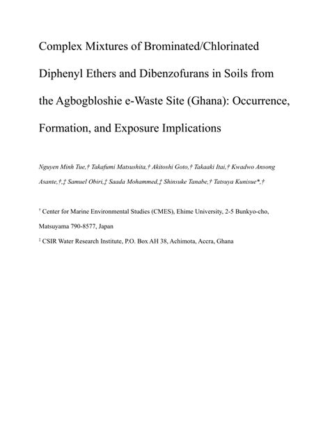 (PDF) Complex Mixtures of Brominated/Chlorinated Diphenyl