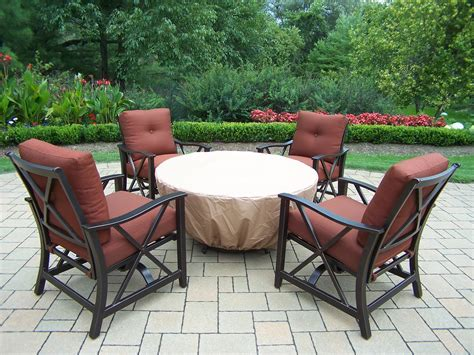 firepit chat set oakland living gas firepit table 5 pc chat set 48 quot gas