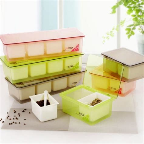 Kitchen Spices Storage Containers Flip Multicellular Plastic Salt And Pepper Set Seasoning