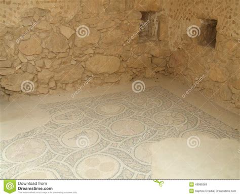 Floor King by Ruins Mosaic Floor King Herod S Palace Masada Israel