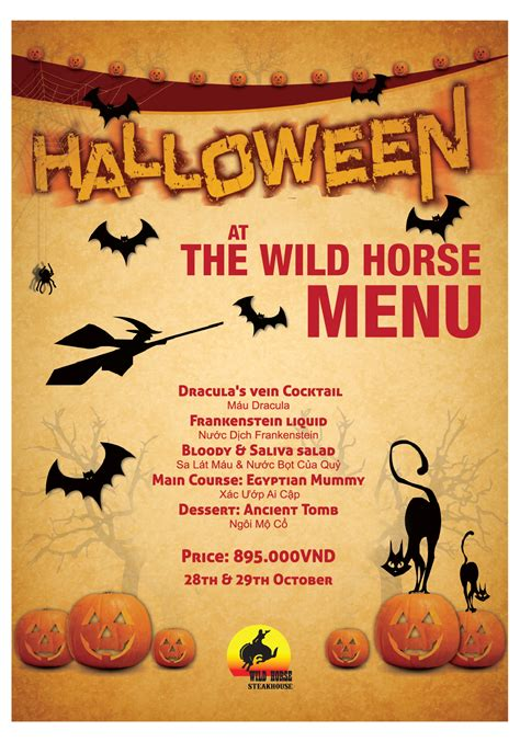 menu halloween wild horse steakhouse