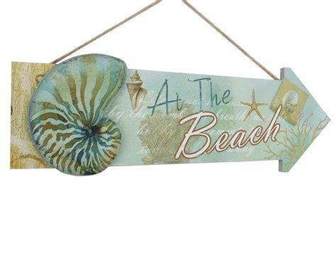 beach home decor wholesale buy wooden arrow at the beach seashell sign 16 inch