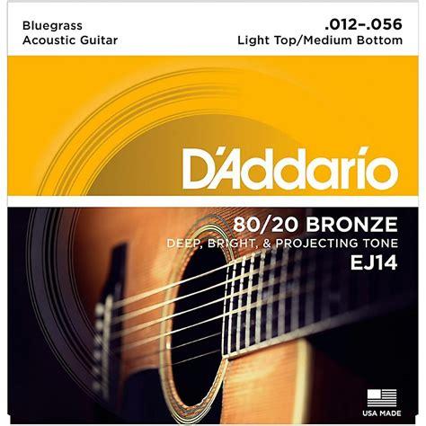light or medium guitar strings d addario ej14 80 20 bronze bluegrass medium light