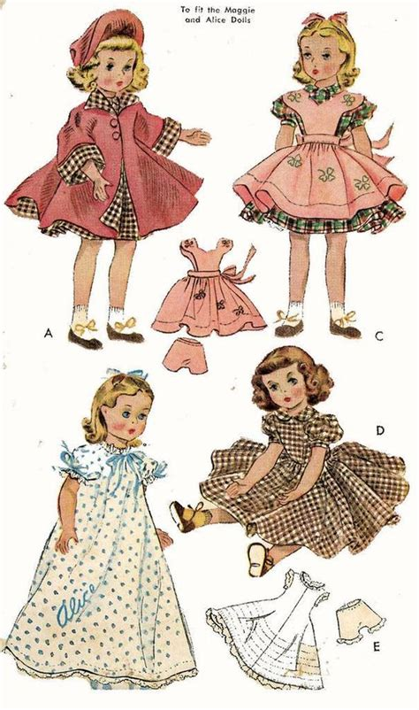 vintage doll clothes pattern 1717 for 15 inch maggie
