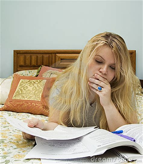 studying in bed woman studying in bed stock images image 5810864