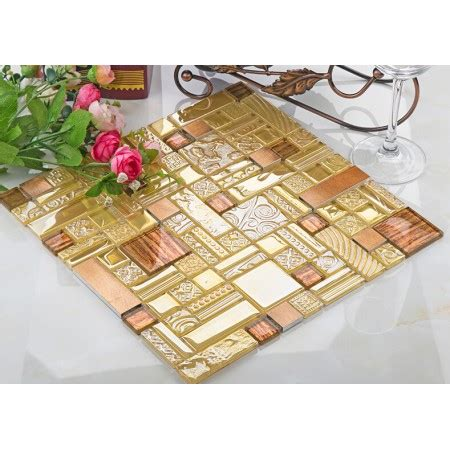 sle copper metal pattern textured glass mosaic tile crystal glass mosaic tile copper aluminum tiles textured