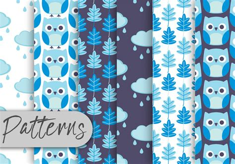 owl pattern vector free download blue owl pattern set download free vector art stock