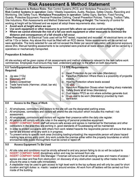 retail risk assessment template method statement template draft 1 images frompo