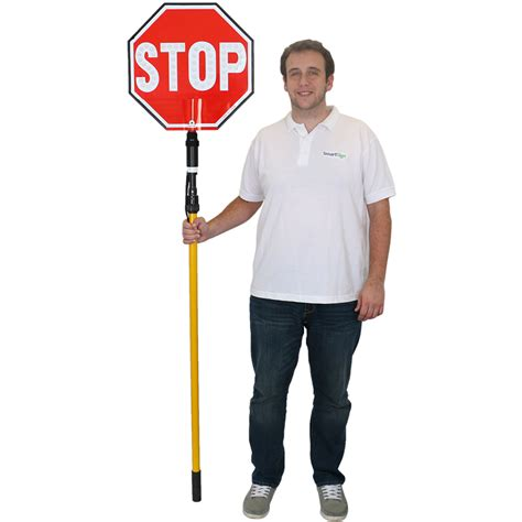 hand held stop sign with led lights stop 2 sided led sign with rechargeable battery sku k