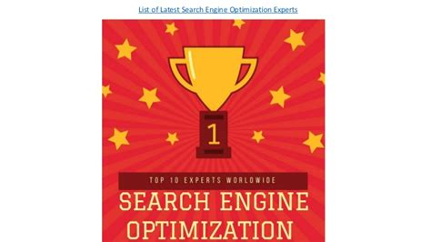 Top 10 Search Engine Optimization by List Of Top 10 Search Engine Optimization Experts