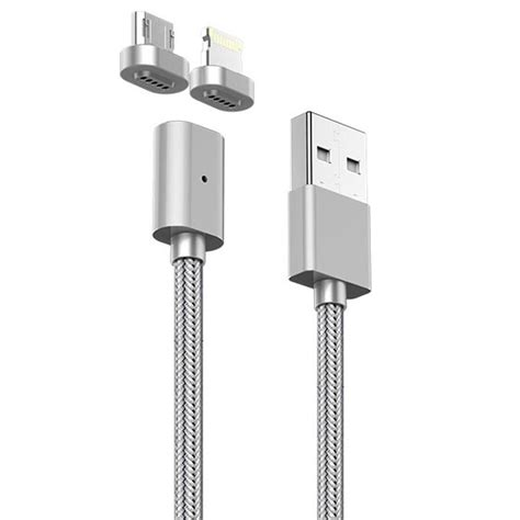 Kabel Charger Magnet Micro Usb Magnetic Cable kabel charger magnetic 2 in 1 micro usb lightning silver jakartanotebook