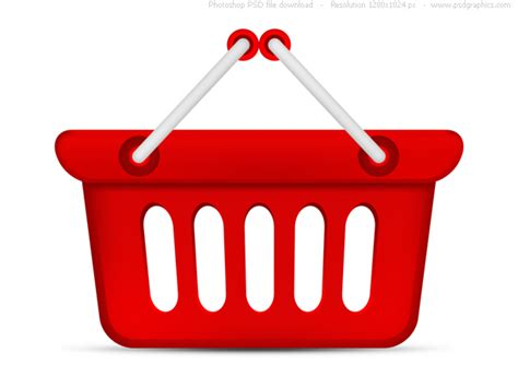 psd red shopping basket icon free download