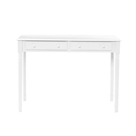 sei 2 drawer wood writing desk crisp white