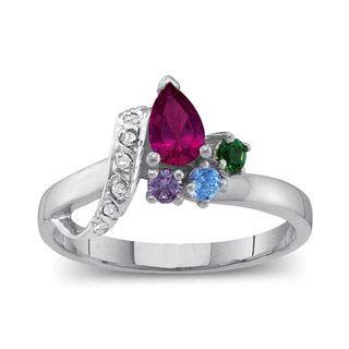 s birthstone ribbon bypass ring 2 7 stones