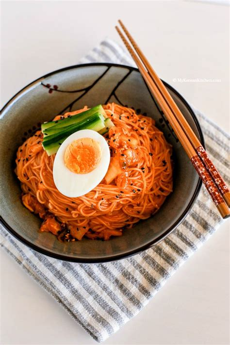 cold recipes spicy cold kimchi noodles my korean kitchen