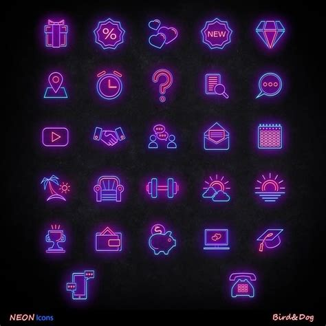instagram story highlight covers neon icons