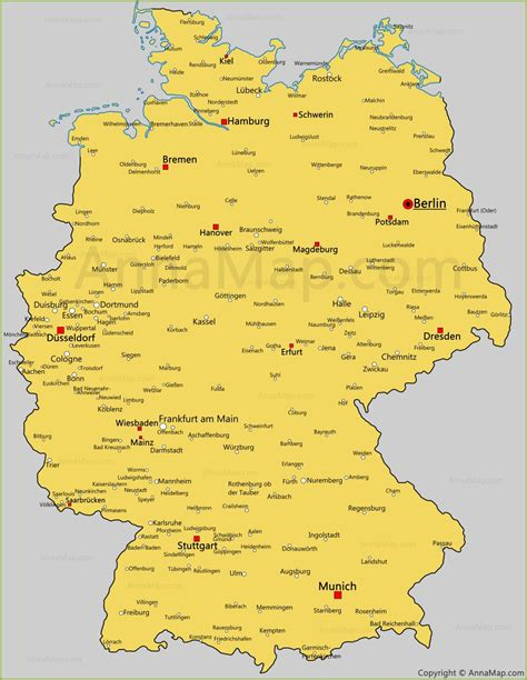 germany map with cities germany cities map cities and towns in germany annamap