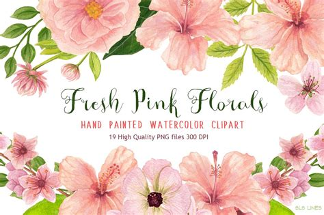 Floral In Pink pink floral watercolors illustrations creative market